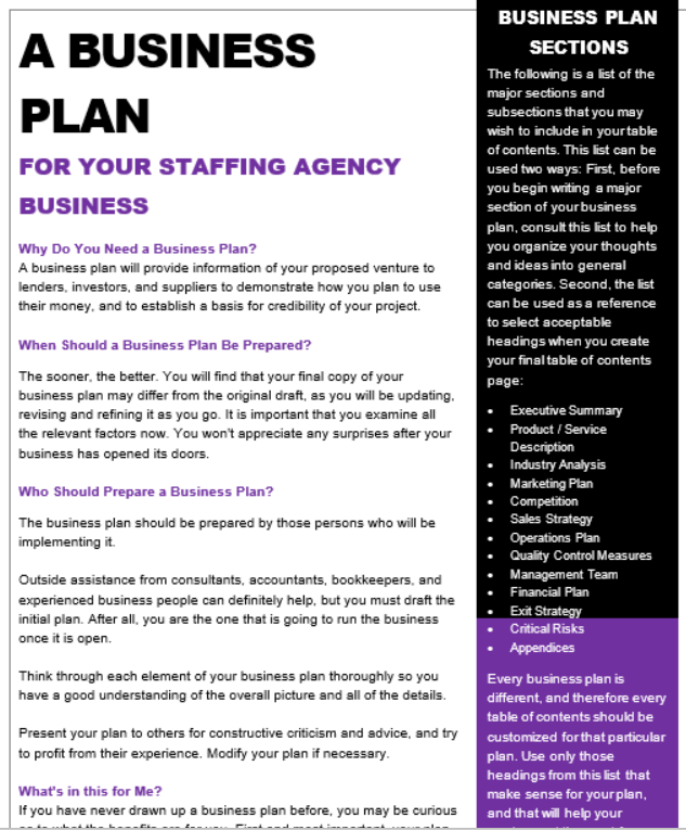 Business plan for recruitment agency pdf writer